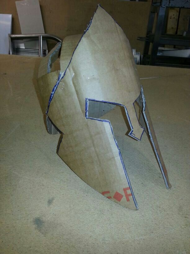 How to Make a Spartan Helmet out of Cardboard | greek party ideas