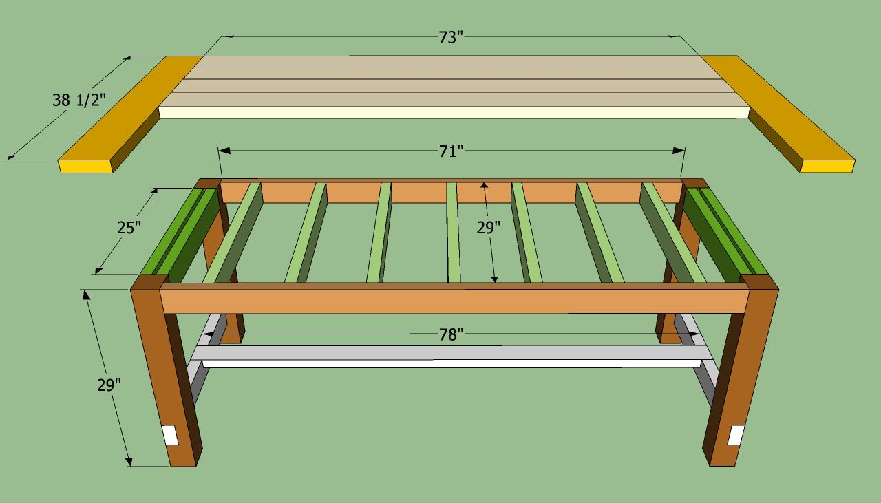 Farmhouse table plans to build how to build a farmhouse table howtospecialist how to build - Kitchen bench designs ...