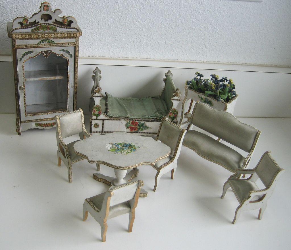 Antique Gottschalk French Miniature Doll House Furniture Blue Silk