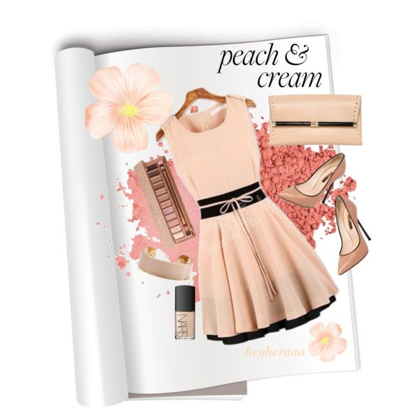 """peach &cream"" by heyheraaa on Polyvore"