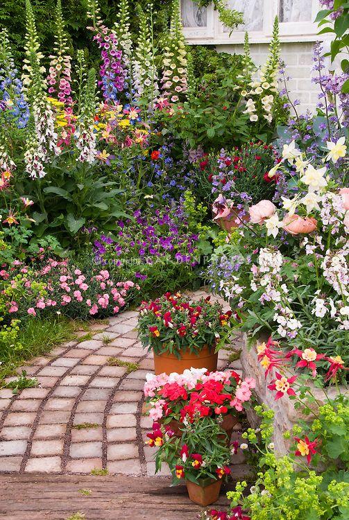 Stone Garden Path With Lush Flower Garden By Judywhite Garden