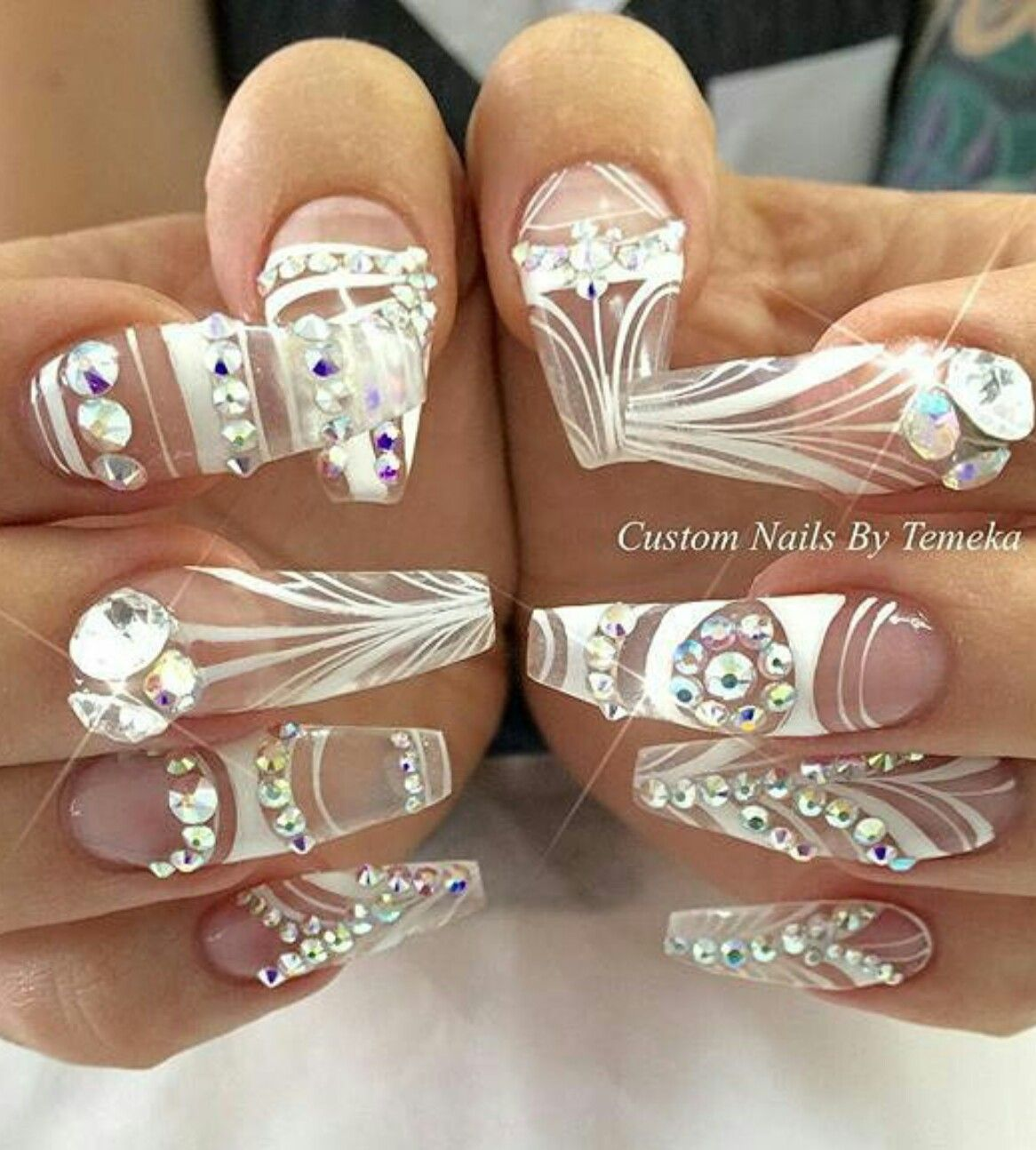 White transparent rhinestone nails design nailart | Nails ...