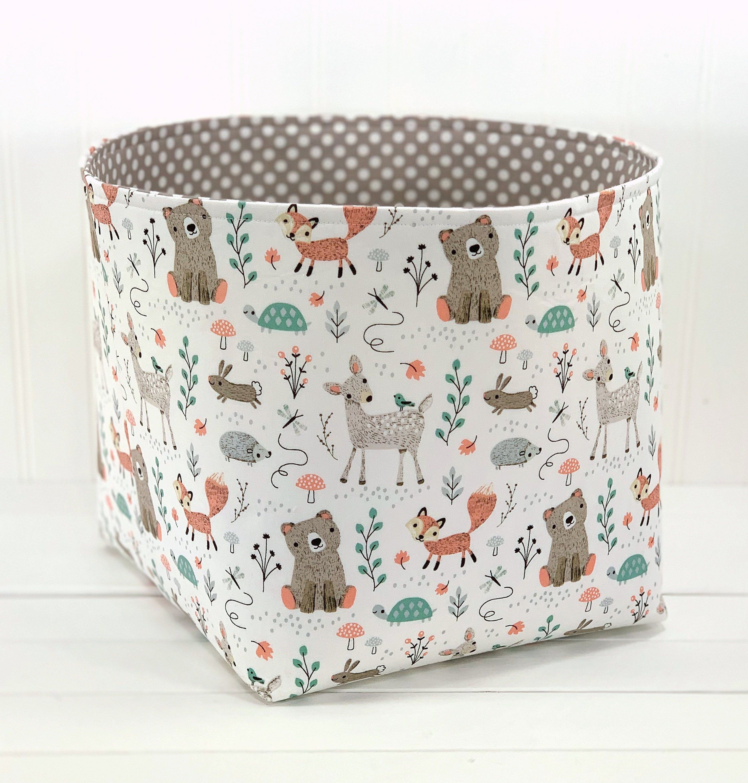 Woodland Nursery Fabric Storage Basket Fox Nursery Decor Organizer Storage Bin Mint And Gray De Fabric Storage Baskets Fabric Storage Bins Fabric Storage