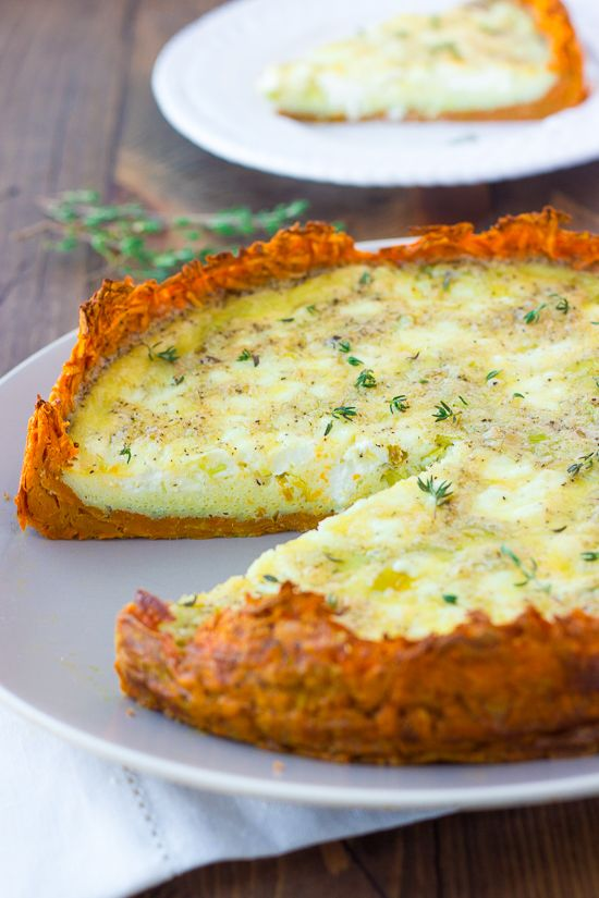 I saw the idea for a sweet potato encrusted quiche on instagram a few weeks ago. I couldn't get the idea out of my mind! It turns out a grated sweet potato crust is just as amazing as it sounds and also 100% easier to make than it sounds. The flavor the the sweet potatoes perfectly complements the leeks, fluffy eggs and chunks of goat cheese...