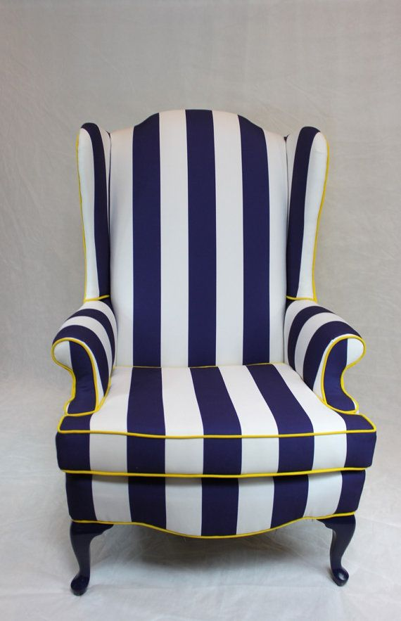 SOLD  Blue And White Striped Wing Back Chair With Bright Yellow Back And  Cording Nautical Custom Upholstery Reupholstered