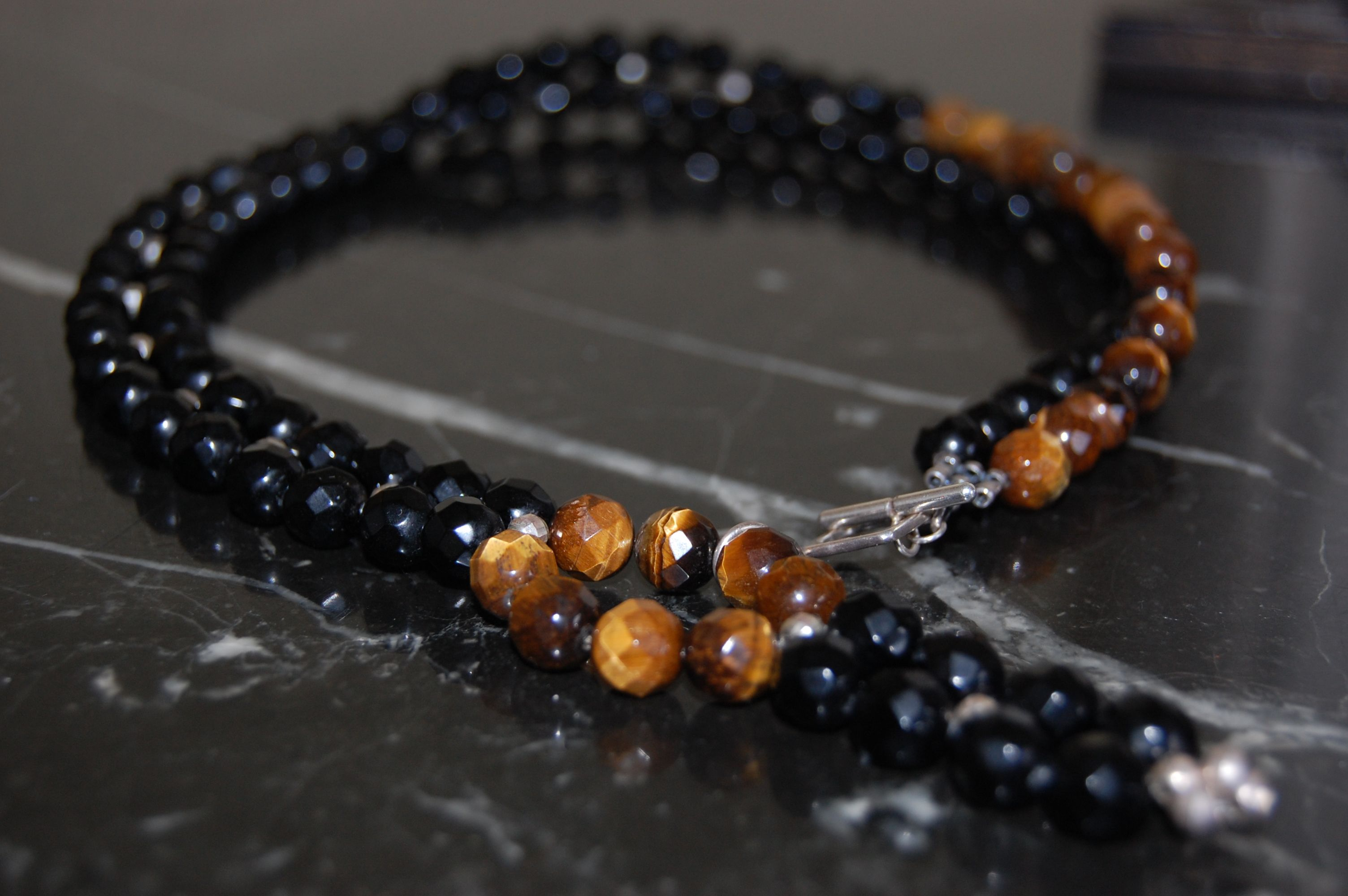 necklace tiger eye, onyx and silver