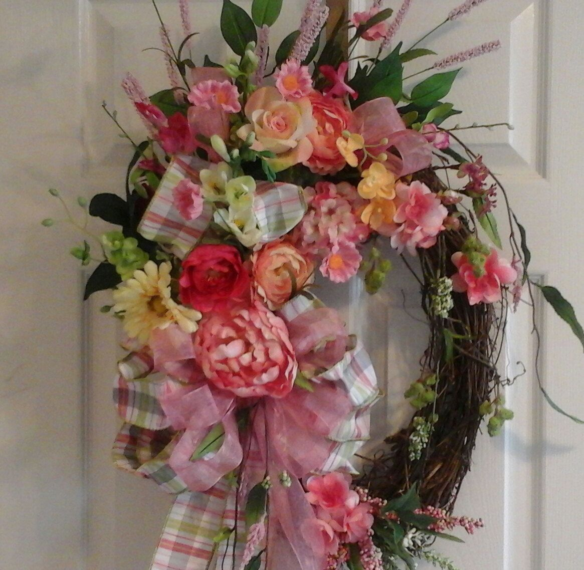 Spring Summer Wreath, FREE SHIPPING,Grapevine Wreath, Elegant Pastel Door, Mantel, Foyer, Kitchen Oval  Wreath, Mothers Day Gift, by GiftsByWhatABeautifu on Etsy