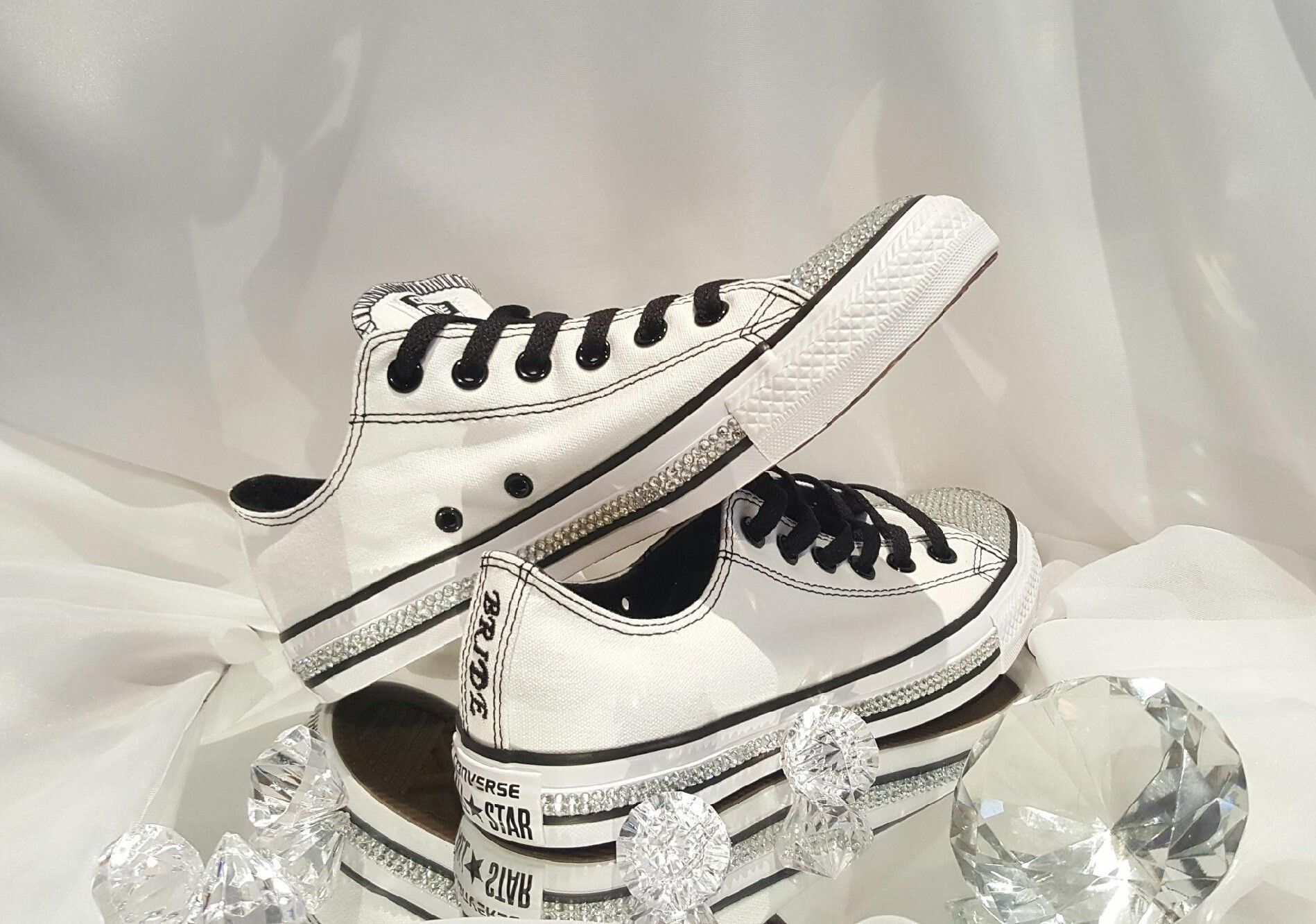 c690f6fbdb8a Custom Womens White Wedding Converse Sneakers Swarovski Crystal Rhinestone  Flat Shoes