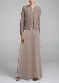 Mother of the Bride: This stunning one-of-a-kind glitter jacket dress will stand out among the crowd!  Tank strap bodice features breathtakingly chic glitter detailing.  Long satin skirt helps creates a elongated silhouette.  Glitter jacket provides just the right amount of coverage.  Fully lined. Back zip. Imported polyester. Dry clean. Also available in plus sizes as Style 749377D .