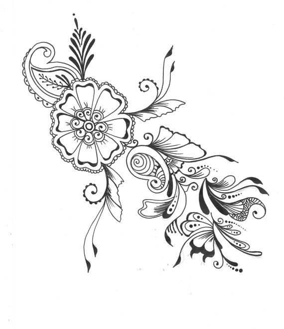 8x10 Art Print Henna Floral Design Ink Pen Drawing Wall Room