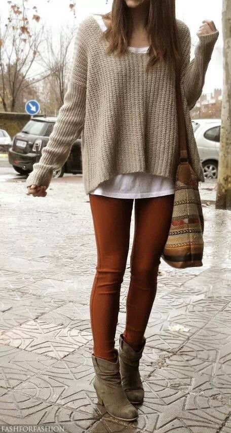 Autumnal colours -pale gold loose knit, white tee/top rust coloured leggings and mink coloured ankle boots.