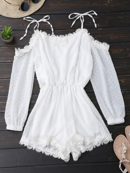 2367ef6b239 Kenancy Women Tie Shoulder Lace Trim Rompers Long Sleeves Cut Out Tunic Playsuits  Summer Spring Jumpsuits Female Overalls in 2019