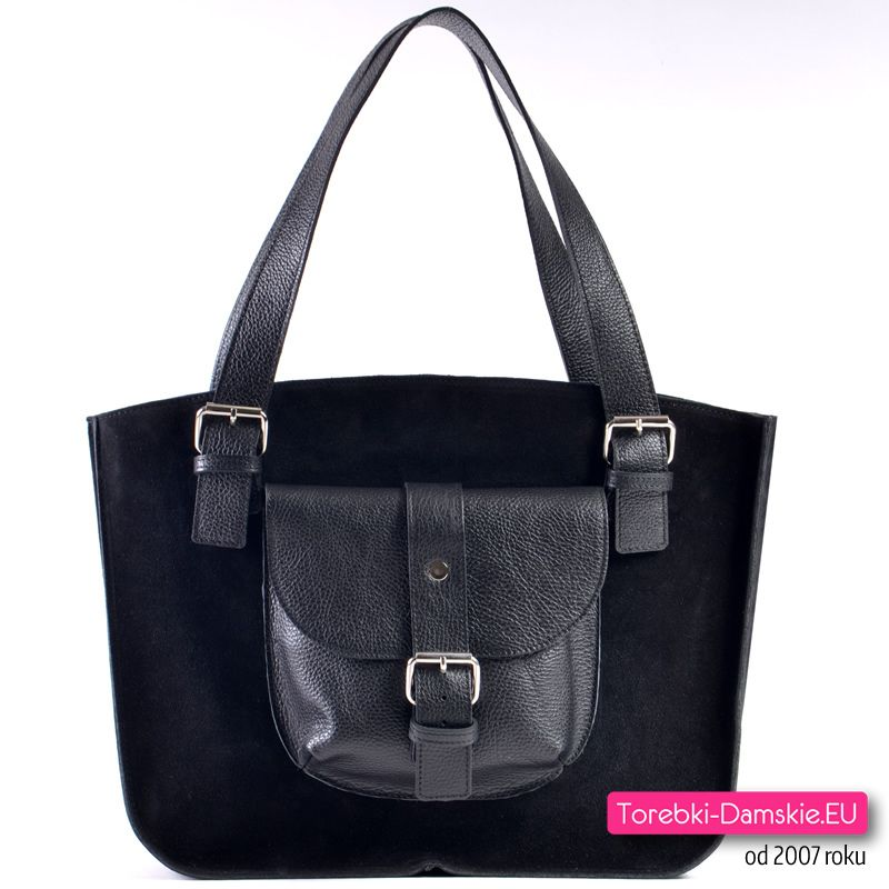0eb60254f9d97 Pojemna torba damska z kieszonką z przodu - włoska