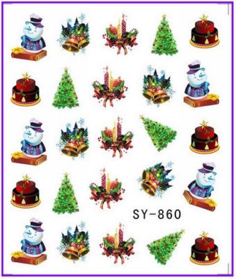 GLITTER WATER DECAL NAIL ART NAIL STICKER Xmas Christmas Santa