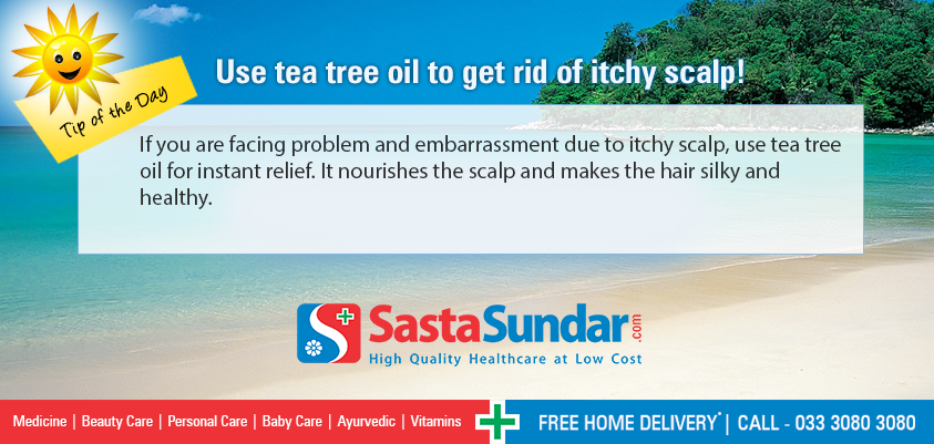 Use tea tree oil to get rid of itchy scalp If you are facing problem and embarrassment due to itchy scalp, use tea tree oil for instant relief. It nourishes the scalp and makes the hair silky and healthy.