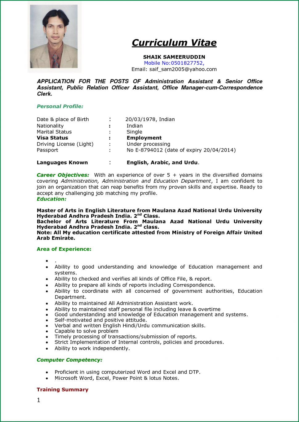 Resume Examples For Job Application