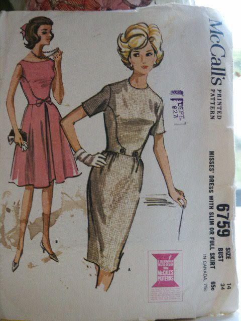 Vintage 1963 McCalls Slim Sheath Dress or Flared Skirt Dress with ...