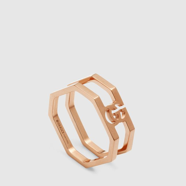 be3ec5ca4 Gucci's 18k rose gold running G ring, crafted in an octagonal shape ...