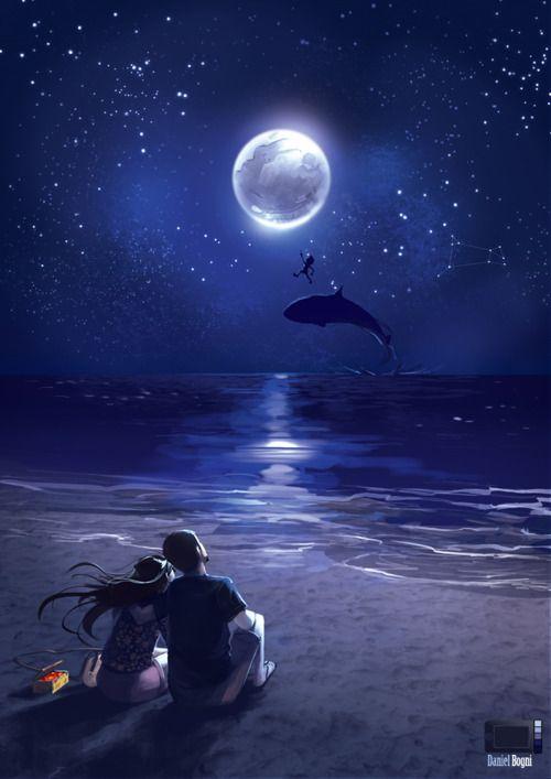 El Amor La Luna El Cielo Anime Scenery Scenery Anime Love Couple