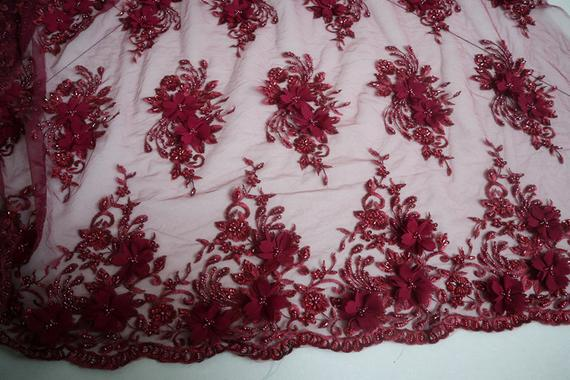 52 Wide Lace mesh BEADED scalloped Fabric by the yard dress, RED