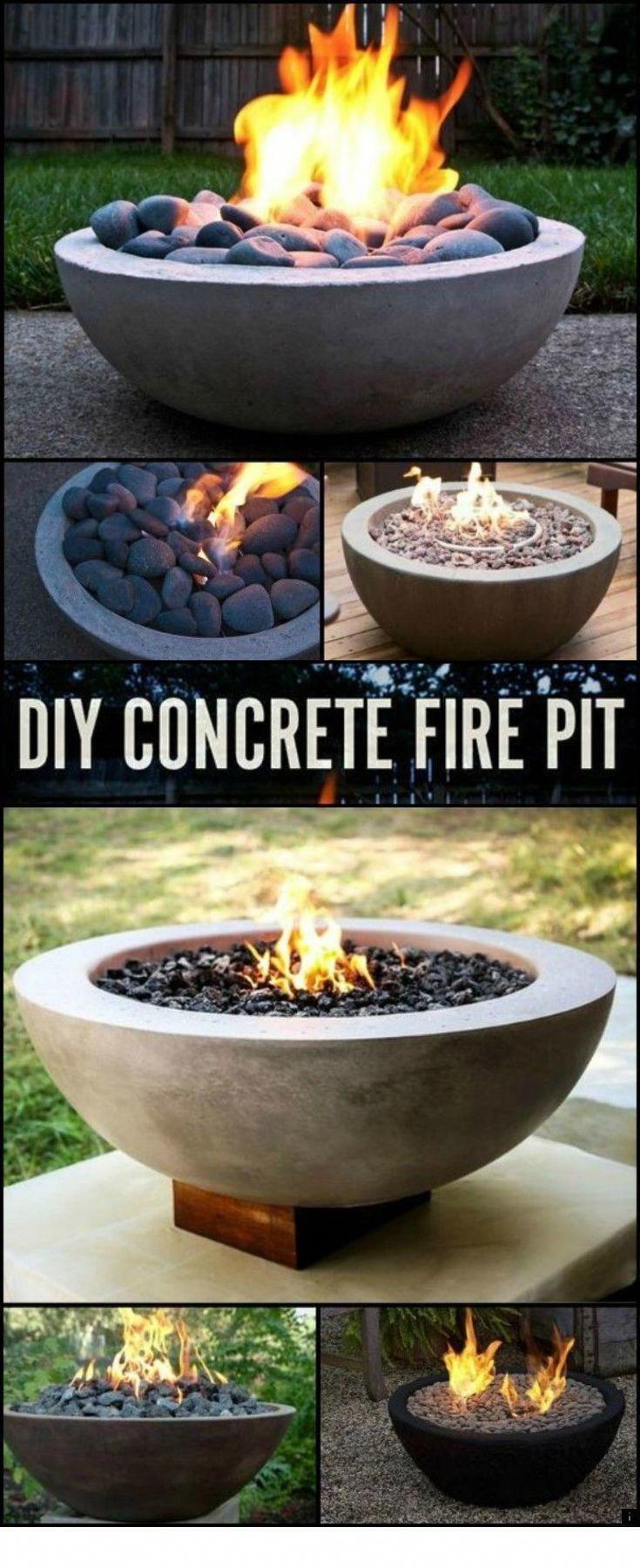 diy concrete fire pit gas