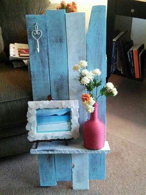 Diy seaglass frame, old wood painted shelf.