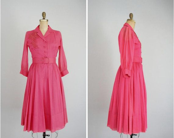 60s brightest rose sheer chiffon dress by CameoCatVintage on Etsy