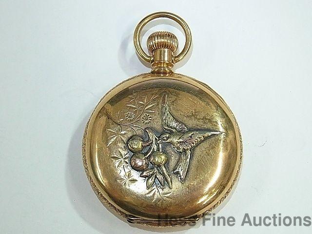 Antique 14k Gold Ladies Multicolor Hummingbird Fancy Dial Elgin