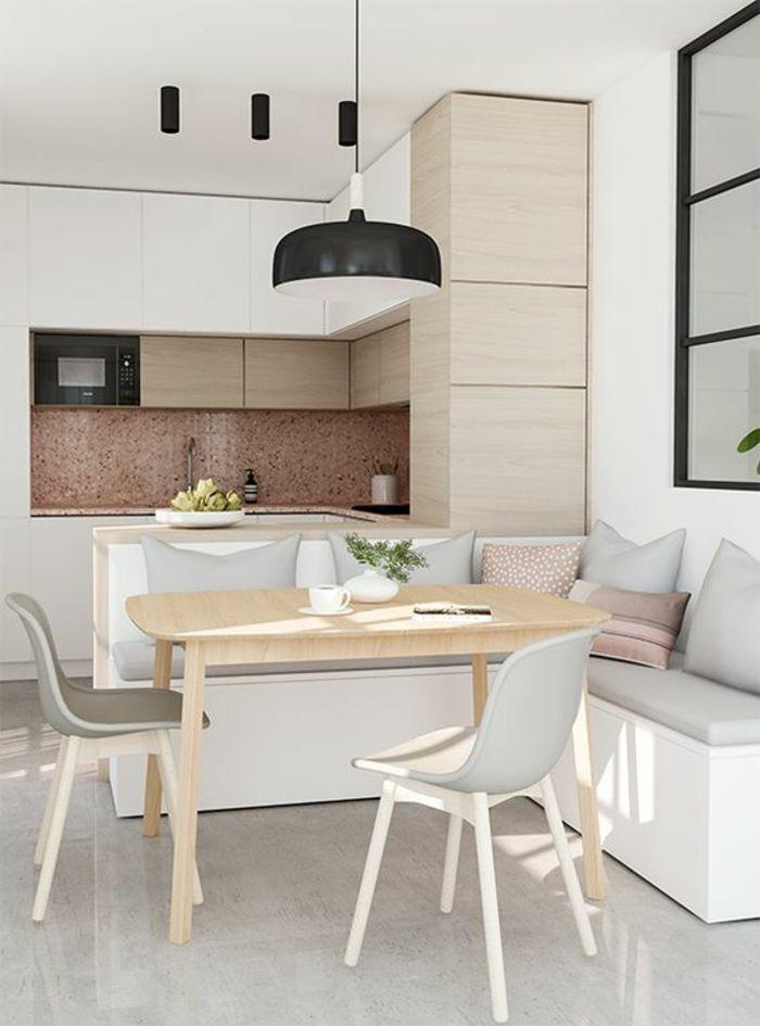 amenagement petite cuisine cuisine petit espace luminaire noir en style industriel meuble de cuisine angulaire coin en forme de niche avec crdence en
