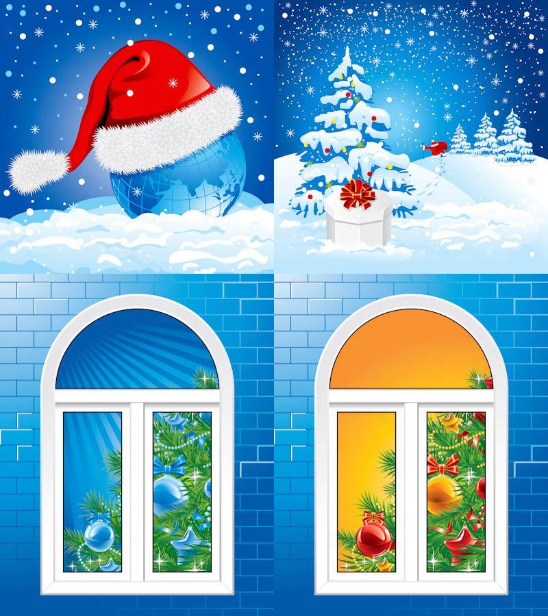 Christmas winter illustrations vector