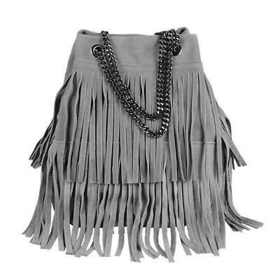 Italian Leather Hand Bag Fringe Shopper Chain Bag Pouch Suede Leather Ladies Bag | eBay