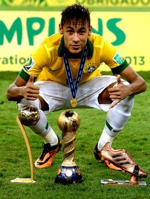 Neymar Poses With The Golden Ball Trophy Left Confederations Cup