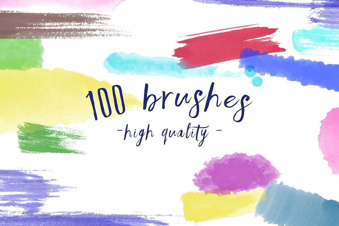 100 Watercolor Brushes Edited Digital Painting Scanned