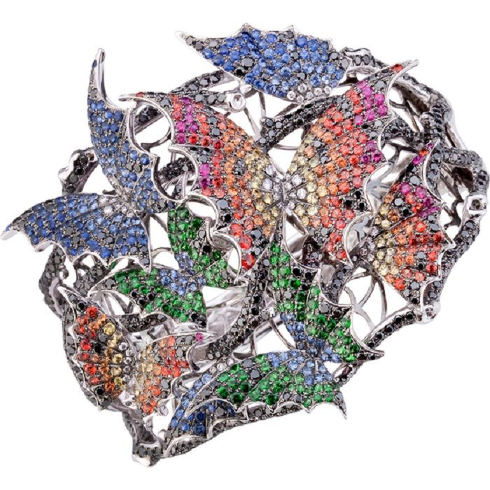Stepen Webster, Couture Voyage collection, Africa cuff, 18k white gold, blue, orange, red and yellow sapphires, tsavorites, black and white diamonds