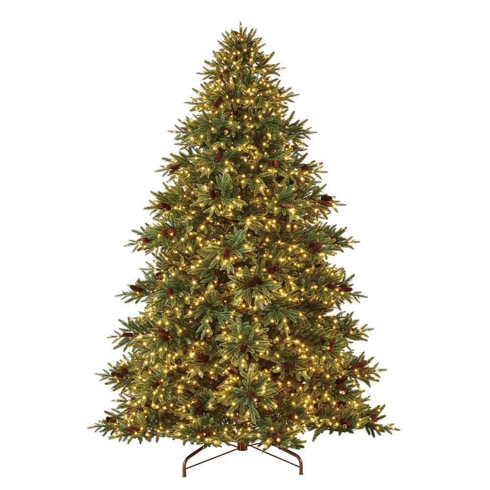 Home Decorators Collection Meyer 9 Ft Pre Lit Led Refined Elegance Spruce Artificial Christmas Tree With 2 Artificial Christmas Tree Christmas Tree Led Lights