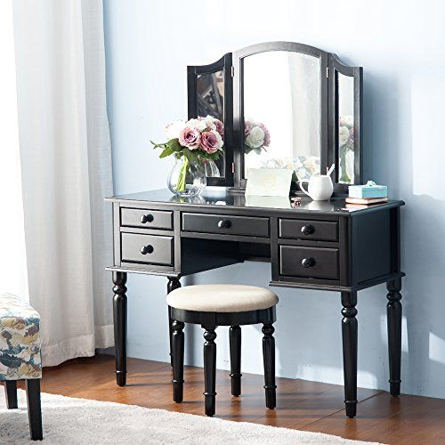 Merax Vanity Set w/ Stool Make-up Dressing Table Bedroom   - Bedroom Vanity Table