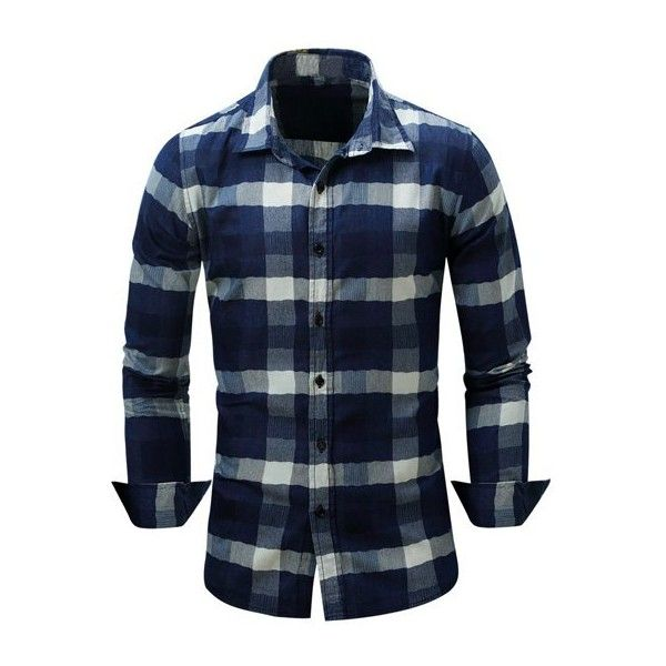 9c8cb9a8a8957 Color Block Checked Turn Down Collar Long Sleeve Shirt ( 19) ❤ liked on  Polyvore featuring men s fashion