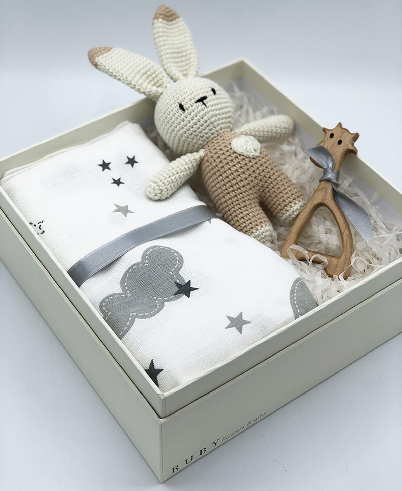 Photo of Crochet Rabbit Gift Box, Baby Boy Gift Box, New Born Gift, New Baby Gift Basket, Organic Baby Gifts, Amigurumi Gift