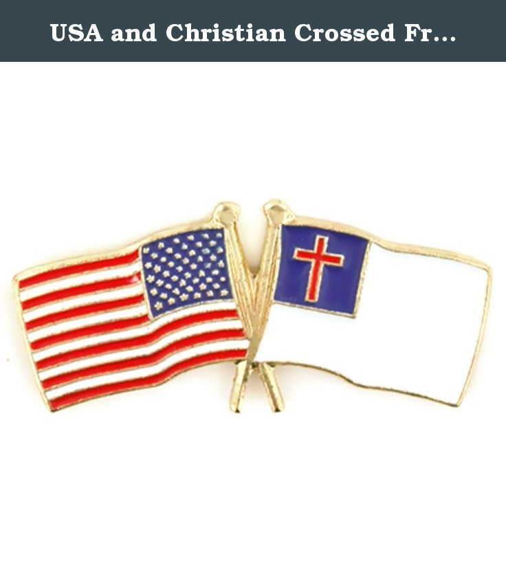 Captivating USA And Christian Crossed Friendship Flag Lapel Pin. USA And Christian Flag  Pin. This