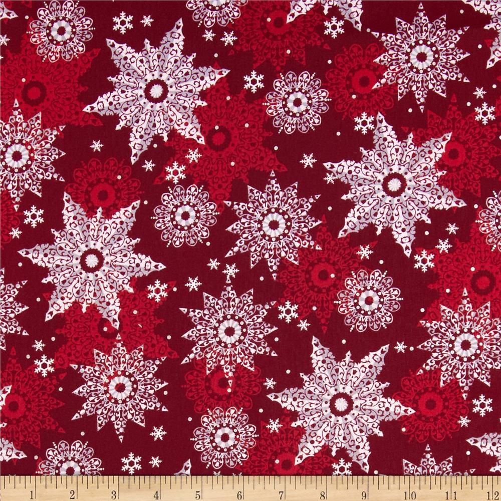 Celebrate the Season Metallic Snowflakes Wine from @fabricdotcom  Designed by Studio 8 for Quilting Treasures, this cotton print features metallic foil printing throughout and is perfect for quilting, apparel and home decor accents.  Colors include white, grey, shades of red and metallic silver accents.