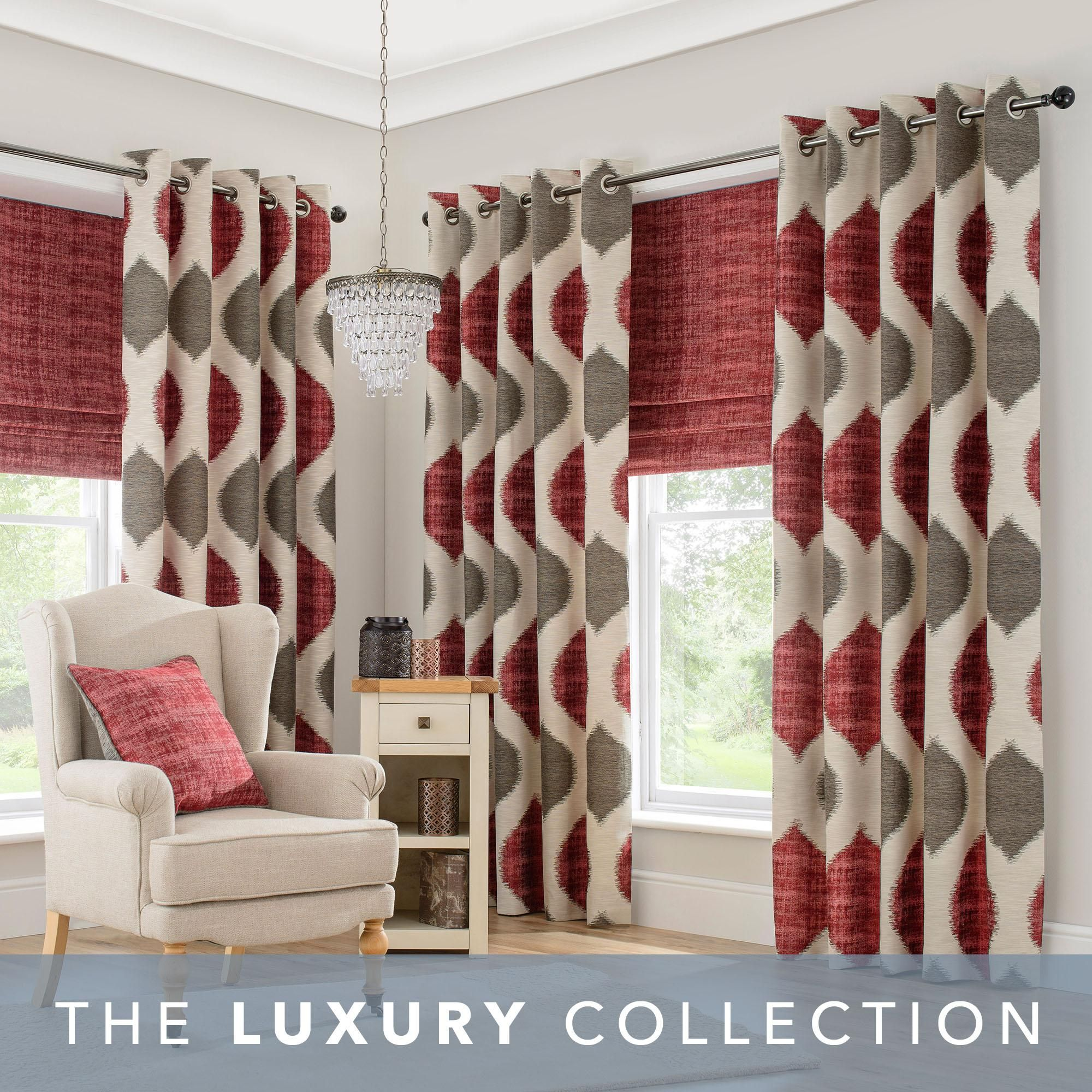Morocco Red Eyelet Curtains In 2020 Red Curtains Living Room Red Grey Curtains Grey Red Living Room