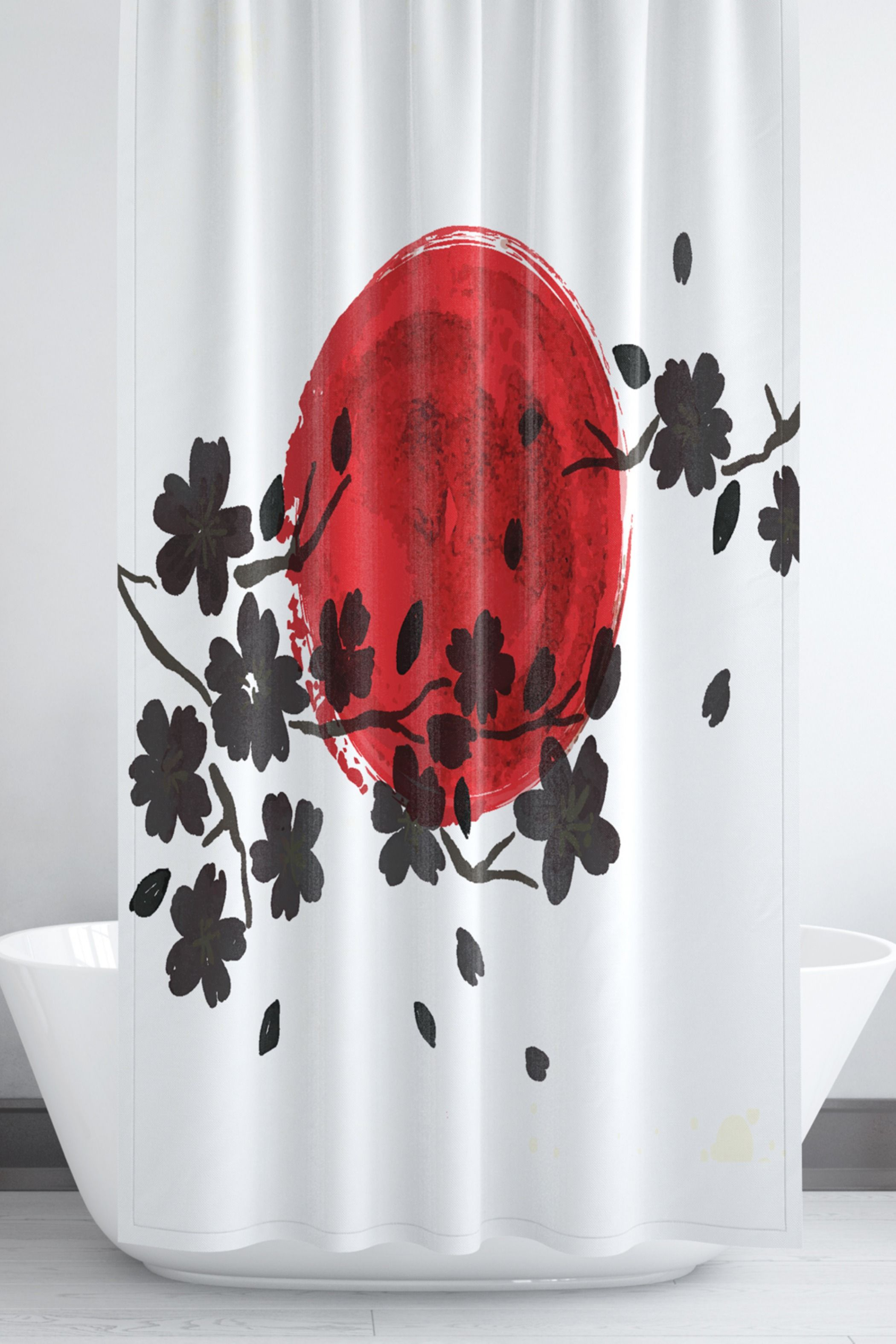 Japanese Shower Curtain In Red Black And White Bathroom Decor