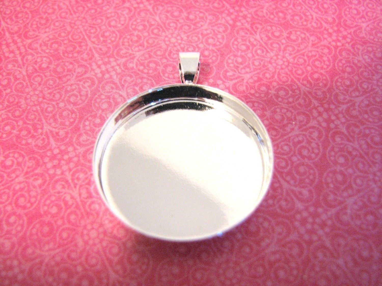 Pendant Bezel Frame Base with Square Glass Cabochon 25mm Jewellery Crafts DIY