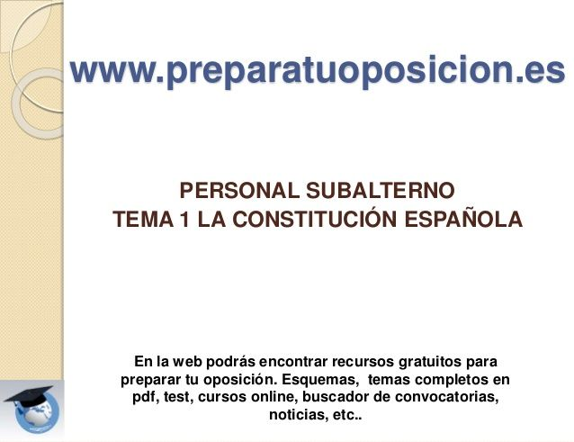 Presentación Tema Constitución Española De 1978 Personal Subalterno Constitucion Higiene En El Trabajo Tema