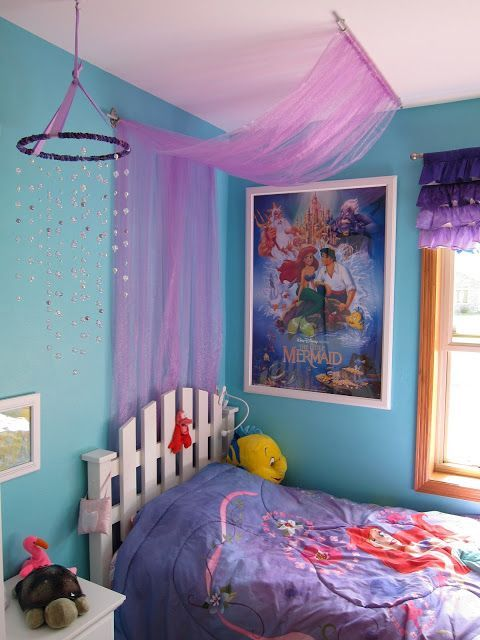 Easy Tulle Canopy Tutorial, Little Mermaid Themed Bedroom   My Dream  Childhood Room