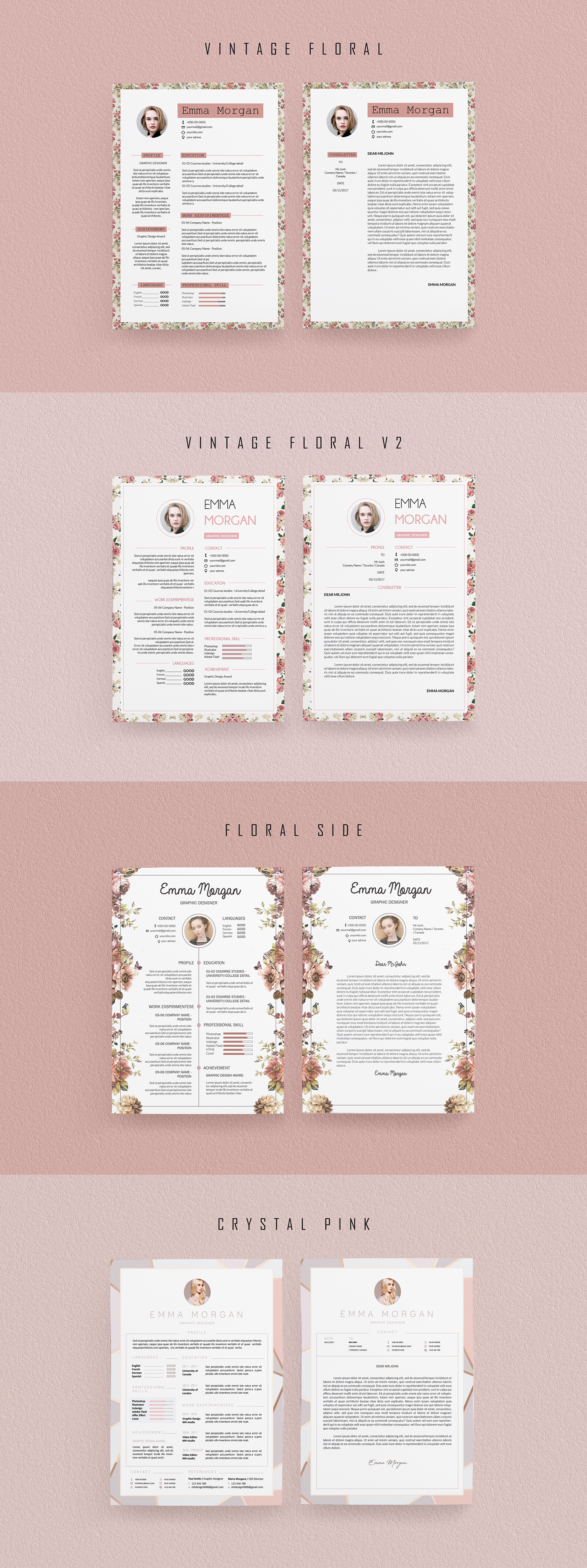 Pink Floral Resume Template Bundle /8 in 1 /Coverletter on
