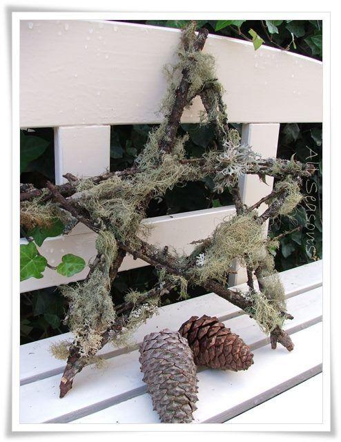 Simpel ster van takken met ijslands mos jul stjerner for Decoratie hertengewei