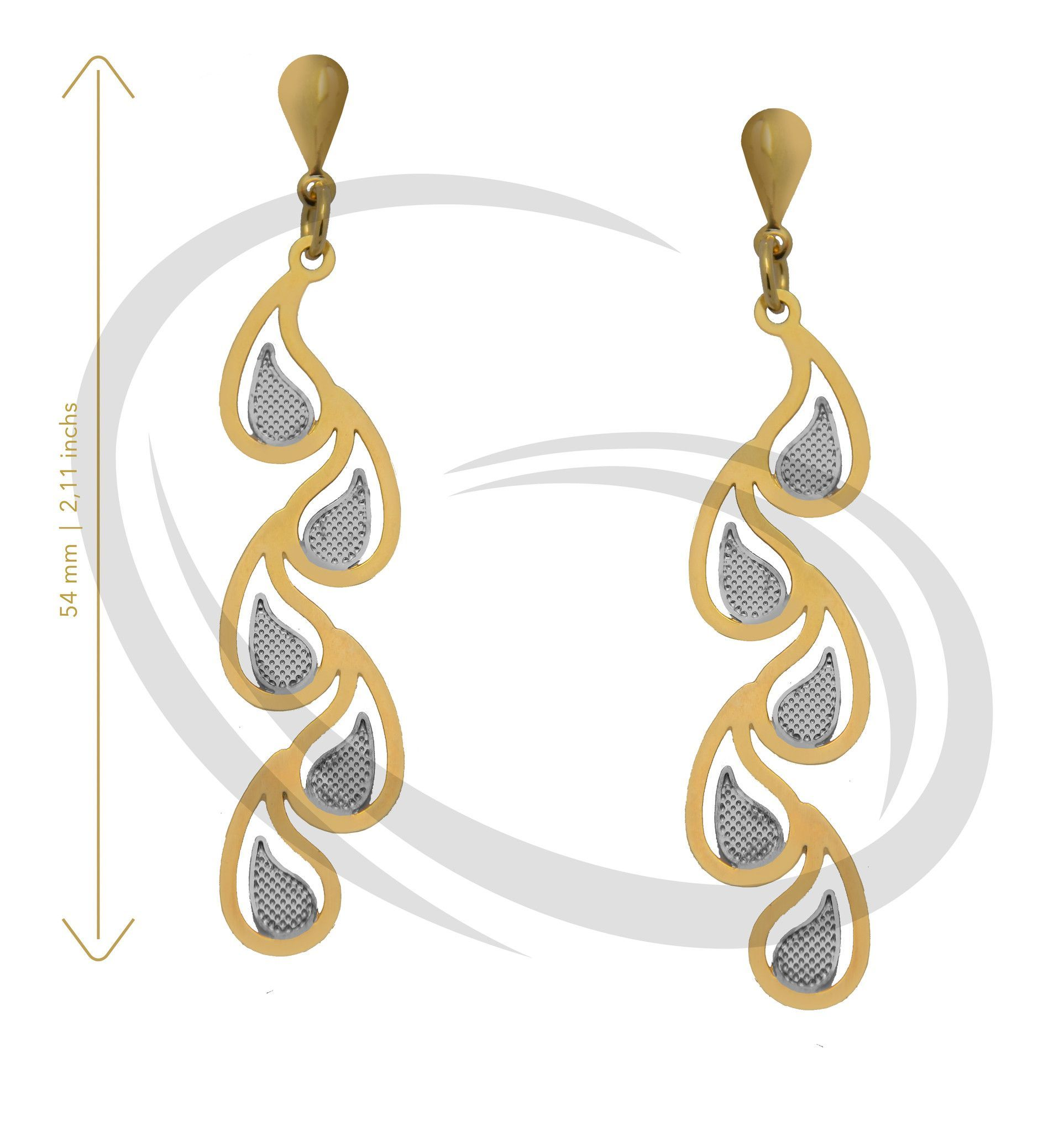 Earring Gold Layered 2 Colors - Gold Primus Ref GIS-2460-2C