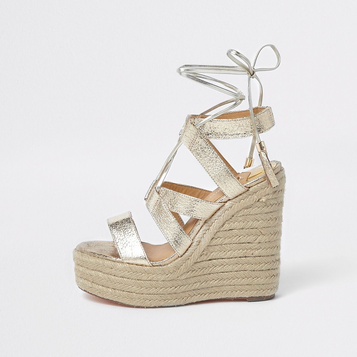 1238c881f1e Gold metallic tie-up espadrille wedges in 2018