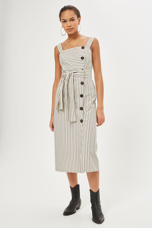 64987444570 Striped Midi Pinafore Dress